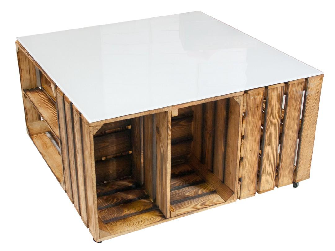 m bel couchtisch aus geflammten apfelkisten auf rollen inkl wei er glasplatte 81x81x44cm. Black Bedroom Furniture Sets. Home Design Ideas