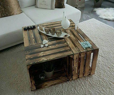 couchtisch aus geflammten apfelkisten auf rollen inkl glasplatte 81x81x44cm ebay. Black Bedroom Furniture Sets. Home Design Ideas
