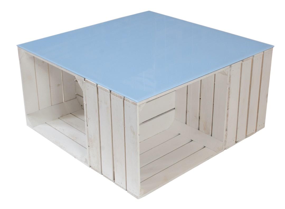Couchtisch aus weißen Apfelkisten auf Rollen inkl. hellblauer Glasplatte 81x81x44cm