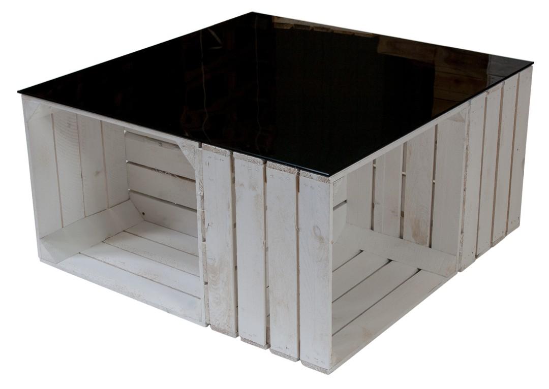 Couchtisch aus weißen Apfelkisten auf Rollen inkl. schwarzer Glasplatte 81x81x44cm