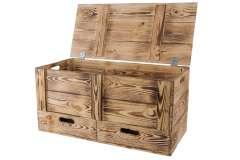 XXL Holztruhe geflammt mit 2 Schubladen und Griffen  85,5x42x43,5cm
