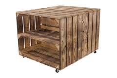 Beistelltisch aus geflammten Kisten mit Regalbrett 50x40x60cm