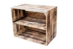 Hochwertige Holzkiste mit Mittelbrett in geflammter Optik 50x40x30cm